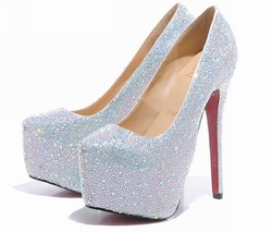 9/12/14/16CM prom heels wedding shoes women high heels crystal high heel shoes platforms silver rhinestone pumps(China (Mainland))