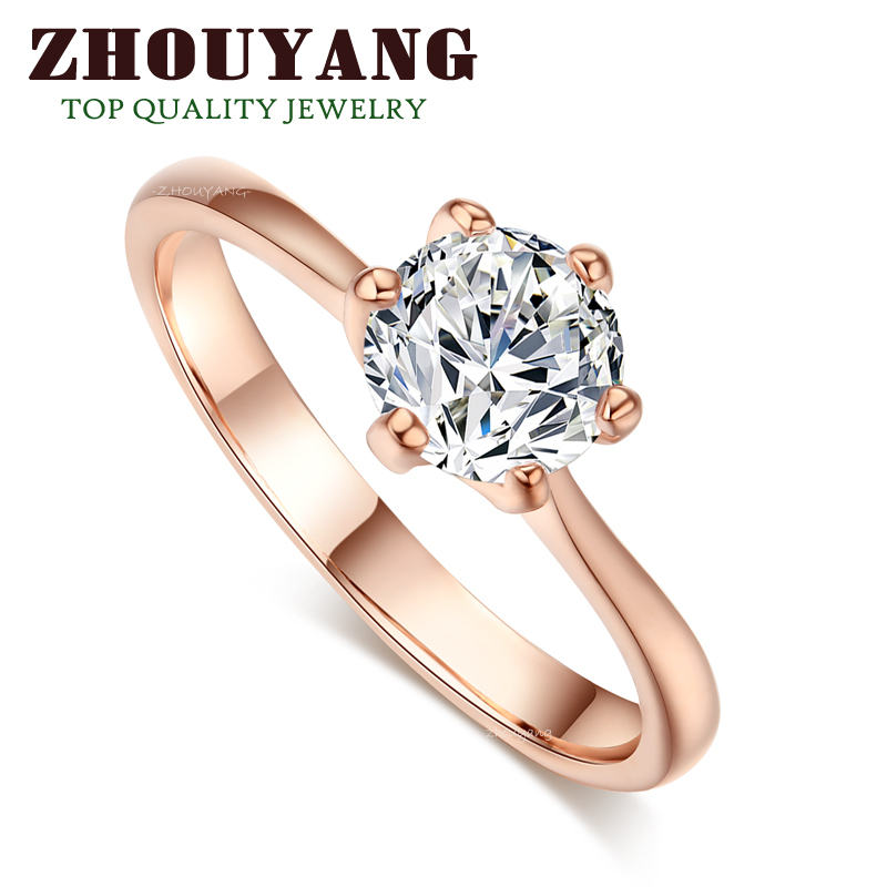 ZYR014 18K Real Gold Plated Princess Cut Six Claw CZ Diamond 1 Carat 6mm Wedding Ring Austrian Crystals Full Sizes Wholesale(China (Mainland))