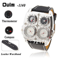Hot Sale Brand Oulm Men Quartz Watch Dual Movt Military Watch Compass & Thermometer Square Dial Genuine Leather Strap Man Watch
