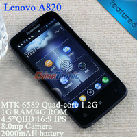 "Original Lenovo A820 Multi-language MTK6589 Quad-core Android 4.1 Dual-SIM WCDMA 4.5""IPS 1GB RAM+4GB ROM White/Black Free Gift"