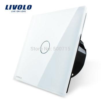 Free Shipping, Livolo Luxury White Crystal Glass Switch Panel, EU Standard, VL-C701-11,110~250V Touch Screen Wall Light Switch