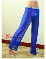 Man's breathable sexy smooth transparent Mesh gauze home leisure trousers :MV601  M  L  XL  Black  White  Red  Blue  Yellow