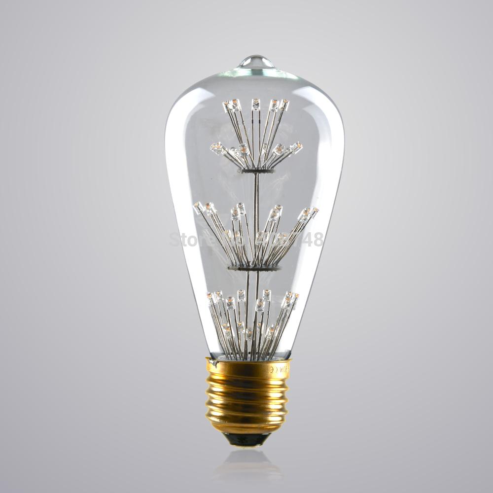 1PC E27 3W Classic Vintage Retro LED Edison Light Bulb ST64 110V 220V Led Antiqued Ikea Lamp Corn Bulb for Bar Home Decoration(China (Mainland))