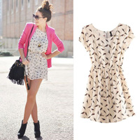 Free Shipping 2014 Bargain HOT SALE Women Spring Summer New Fashion Animal Print Vintage Mini Dress, Plus Size S-XXXL 0019