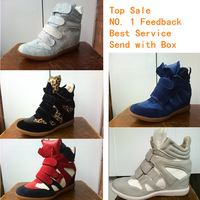 2015 new Height Increasing Marant Style Women Sneakers Wedge Shoe Fashion Platform Boot Artificial Leather Free Shipping No Logo