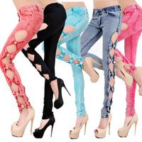 HOT SALE HQ Fashion Plus Size XL Sexy Low Waist Skinny Vintage Slim Bow Cotton Pencil Pants Hollow Out Women Jeans Female 2014