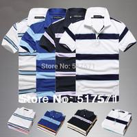 plus size wholesale Fashion stripe T-Shirts Men 2013 Summer Shirts For Mens Casual Men's  Sport  t shirt