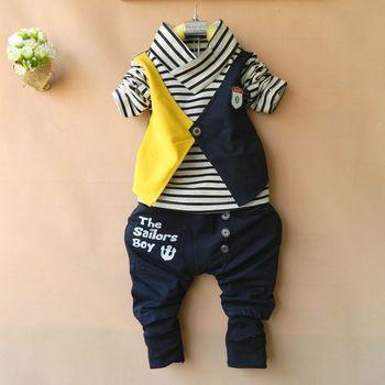 Retail 2014 New Children Clothing Sets Kids Wear Baby Boys Sports Suit Striped T shirt + Letters Pants Boy's Clothes Suit