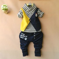 Retail 2014 New Children Clothing Sets Kids Wear Baby Boys Sports Suit Striped T shirt + Letters Pants Boy's Clothes Suit