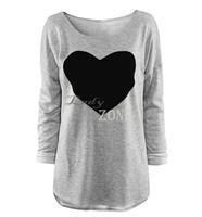 New 2014 Fashion T-shirt For Women Heart Tops Sweatshirt Long Sleeve Shorts T-shirt Plus Sizes Tee Autumn-Summer Clothing 18409
