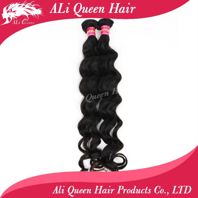Ali queen hair natural black human hair extension more wave 6a unprocessed braizlian virgin hair weave bundles 8-34 in stock(China (Mainland))