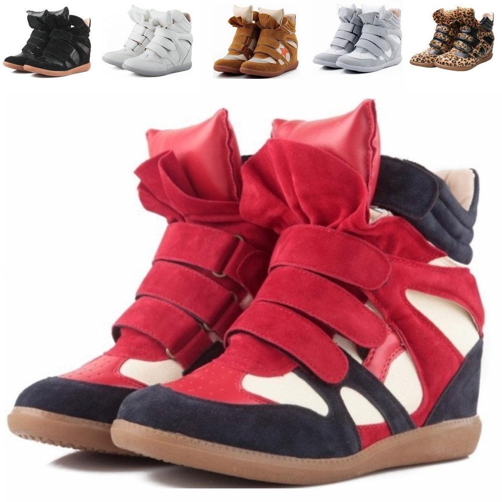 Cuir véritable isabel marant taille( 35~42) nouveau style 48 bottes, augmentation de la hauteur chaussures baskets femmes livraison gratuite