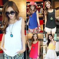 M L XL Women fashion Chiffon tank Vest Shirts solid candy 5 color camis chiffon loose Shirt B26 SV001823