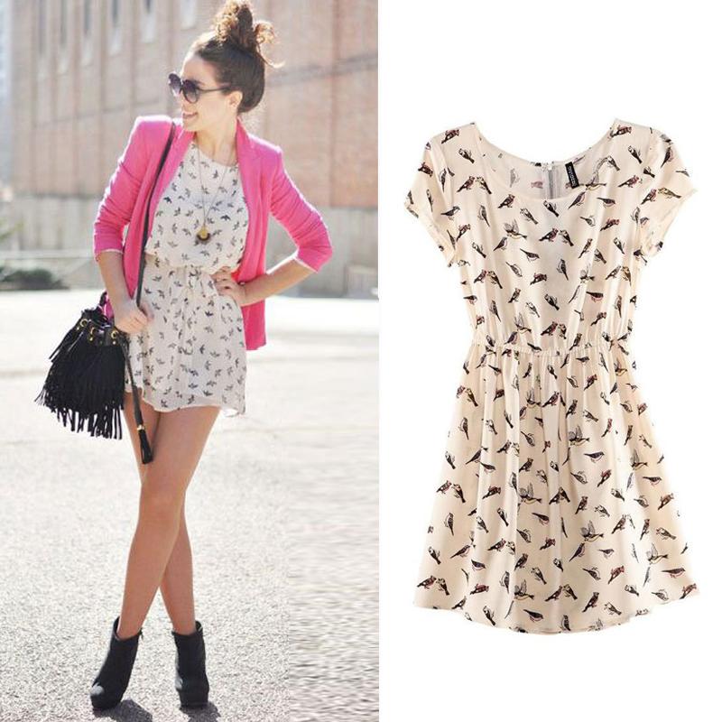 Free Shipping 2014 Bargain HOT SALE Women Spring Summer New Fashion Animal Bird Print Vintage Mini Dress, Plus Size S-XXXL 0019(China (Mainland))