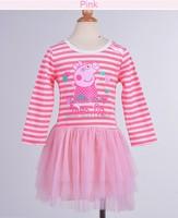 2014 baby girls cotton wear clothes long sleeve Peppa pig dress tutu princess lace dress with bowknot b6 SV002796