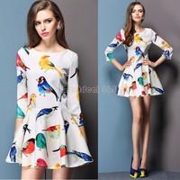 2014 Hot New Arrival Women Floral Bird Print Dresses O-neck Casual Slim Party Brand Designer Dress B16 SV001486