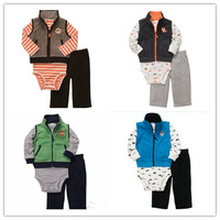 1 Set Retail, Original Carter's Baby Boys Vest + Bodysuit + Pant 3pcs, Baby Green Microfleece Vest Casual Set,  Freeshipping