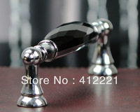 Free Ship 10pcs/lot 128 mm pitch Bridge Zinc Alloy Handle In CHROME Faces Black Crystal Handle Pull for Cupboard Apartment Door