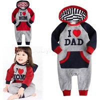 I Love MOM & DAD 2014 New Casual Baby Autumn hooded rompesrs Infant Long Sleeve Cotton Bodysuit Jumpsuit Outwear 3-24month 9