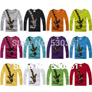 New 2014 t-shirts, cotton long sleeve children t shirts, cute animal cartoon t-shirt, candy color bottoming t shirt, nova kids(China (Mainland))
