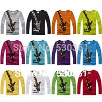 New 2015 t-shirts, cotton long sleeve children t shirts, cute animal cartoon t-shirt, candy color bottoming t shirt, nova kids