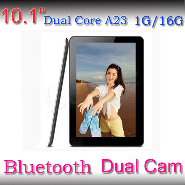 Bluetooth!! 1.5GHZ 1024*600 Free shipping Dual Core Allwinner A23 android 4.2.2 1GB/16GB dual camera 10 inch tablet pc(China (Mainland))