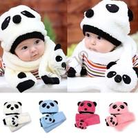 2014 New hot children hat 100% wool hat+scarf two piece set Panda cap children animal cap Warm winter Gift 4 colors b14 18499