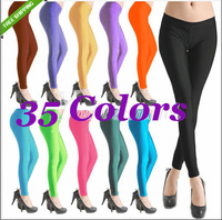 CELEBRITY STYLE FLUORESCENT NEON NEW WOMENS LADIES GIRLS SHINY FULL LONG DISCO SEXY  TIGHTS JEGGINGS LYCRA   35 Colors