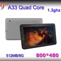 HD 1GB RAM 8GB ROM bluetooth 1.5ghz dual core A23 android tablet pc 9 inch Screen HD 1024*600 Dual camera MINI PC Free shipping