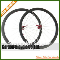 Standard weight 38mm clincher bike wheelset 700C carbon fiber road racing bicycle wheels