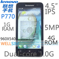 Original Lenovo P770 Multi language Mobile phone 4.5IPS 960x540 MTK6557 Dual core1G 1GRAM 4GROM  Android 4.1 5MP