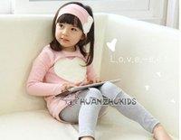 Retail 1 sets/lot children clothing set,girl love wear,kid's wear,2 color  ,hot hot