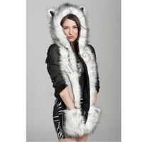 New 2014 Fashion Women faux fur one piece cartoon cap belt scarf Fur hat female winter animal fur cap Christmas gift 50