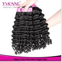 3 Bundles Virgin Peruvian Hair Extension,Grade AAAA Deep Wave Human Hair,Aliexpress Yvonne Hair Products,12~28 Inches