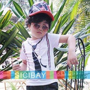 2014 Boys short sleeve t shirts children Fashion cool tie printed tops Kids summer t-shirt Free Shipping K0121