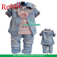 Baby Denim Suit 2013 Spring Autumn Clothing Set Lace 3 pcs set(coat+t-shirt+pant)Christmas Gift Costume For Girls