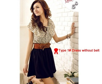 2014 New Japan Korean Women Fashion Short sleeve Dots Polka Mini Summer Chiffon Dress 3 Sizes 38