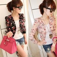 2013 New Spring autumn Fashion Women Long Sleeve Floral Print Shrug Short Jacket Chiffon coat Top 3 Colors Free Shipping 7339