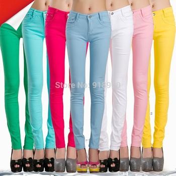 new 2014 women pants long trousers/XS~XXL candy colored pencil pants/stretch cotton designal pants/pantalones mujer ropa/WOl