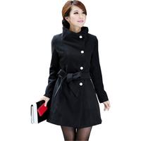 FS-0063 Autumn Winter Coat For Women Fashion 2014 Women's Outerwear Long Coats Black Grey Yellow Red S M L XL
