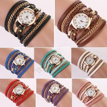 2014 New Arrival Hot Fashion Women Wristwatch Dress Watches Retro Synthetic Leather Strap Bracelet Ladise Watch b4 SV004345