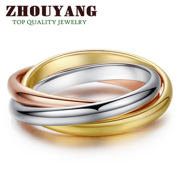 Top Quality ZYR030 Classical 3 Rounds 18K Rose Yellow White Gold Gold Plated Ring Fashion Jewelry Wholesale