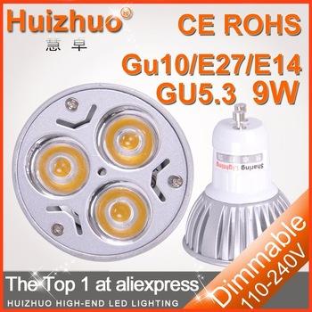 [huizhuo Lighting]Free shipping 50X High power gu10 9w spotlights 220V Dimmable gu10 led bulb lighting(China (Mainland))