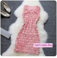 Stunning Floral Gauze Roses Sweet Princess Slim Dress, Elegant Ladies One-piece Flower Dress