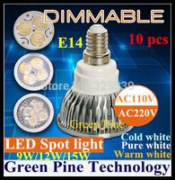 Free shipping 12 pcs Dimmable 12W 9W E14 MR16 GU10 E27 B22 GU5.3 High Power LED lamp LED Spotlight Downlight Bulb LED Lighting