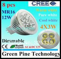 Free shipping 8 pcs CREE Dimmable MR16 12W 9W AC&DC 12V High Power LED Spotlight Downlight lamp Bulb LED Lighting LED light