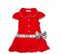 1 piece free shipping Children's Summer Dress Girl One-piece Cotton Casual Sports Dress Bow Pleated