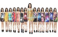 2015 Fashion Newest Women Sexy Galaxy Dresses Stylish Skinny Elastic Casual T shirt Dresses Sleeveless 17 Colors One Size
