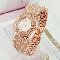 2014 NEW Luxury Fashion Lady Round Dial Rose Gold Rhinestone Diamond Quartz Watch Women Watches Free Shipping