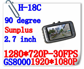 New Arrival Car DVR GS8000 HD 720P 2.7' LCD 5M COMS Sensor Camera IR Night Vision no GPS